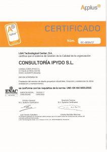 CERTIFICADO CALIDAD ISO 9001 INGENIERIA ALICANTE